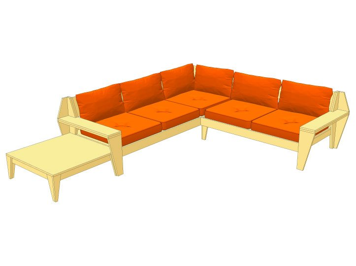 Drawing DIY garden corner sofa 'YelmoXL'