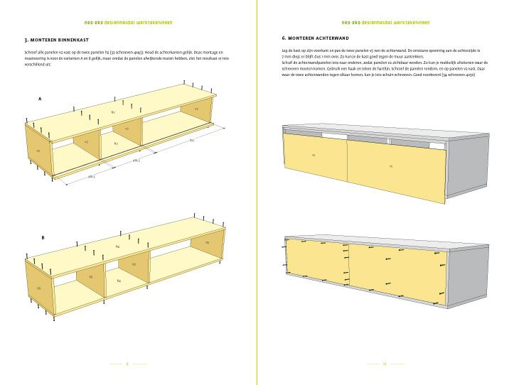 DIY floating TV stand 'Arturo' drawingspreview-tekening-picknicktafel-urbion 2-pages