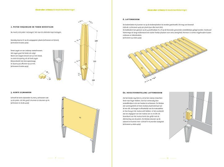 Preview Drawing DIY plans cot | bedstead 'Leon' preview-tekening-picknicktafel-urbion 2-pages
