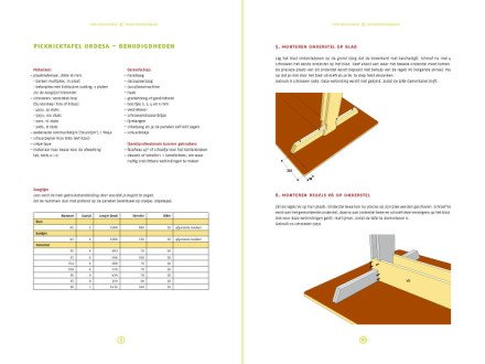 preview-DIY design picnic table 'Ordesa' drawings | planpreview-tekening-picknicktafel-urbion 2-pages