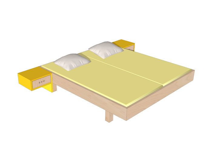 Drawing DIY plan double bed 'Azobe'