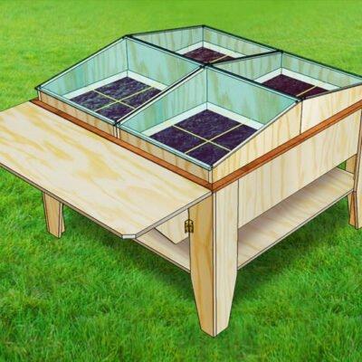 Drawing DIY kitchen garden table Huerta