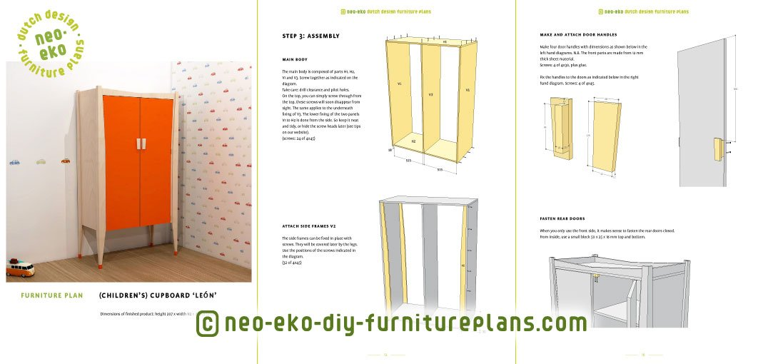 cupboard kids furniture plan preview Leon