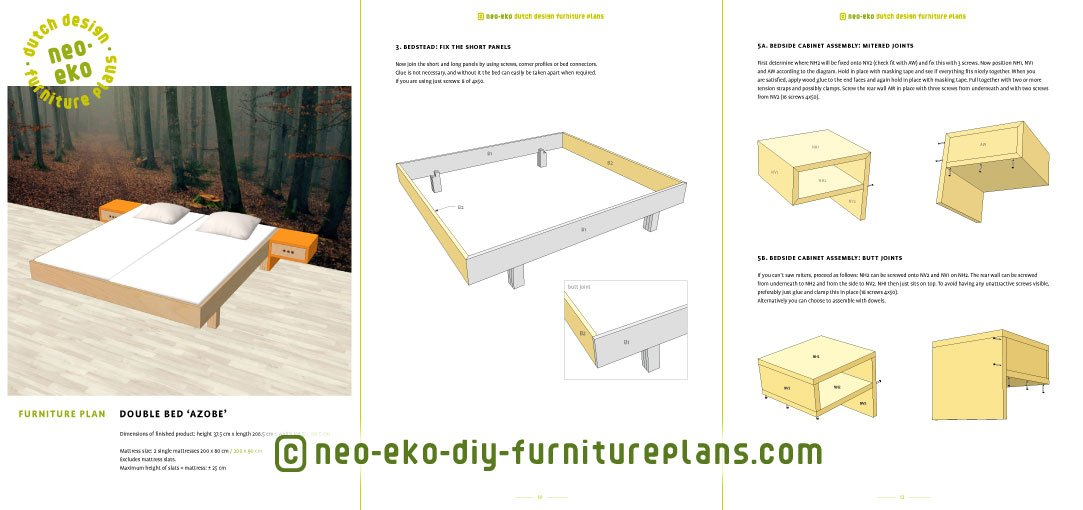 double bed diy furniture plan preview Azobe