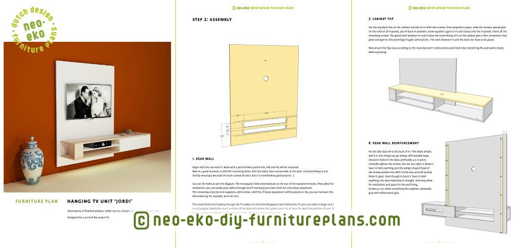 hanging tv unit furniture plan preview Jordi