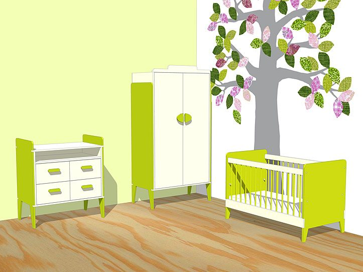 Nursery Drawing DIY plans cot | dresser | closet 'Nicole'