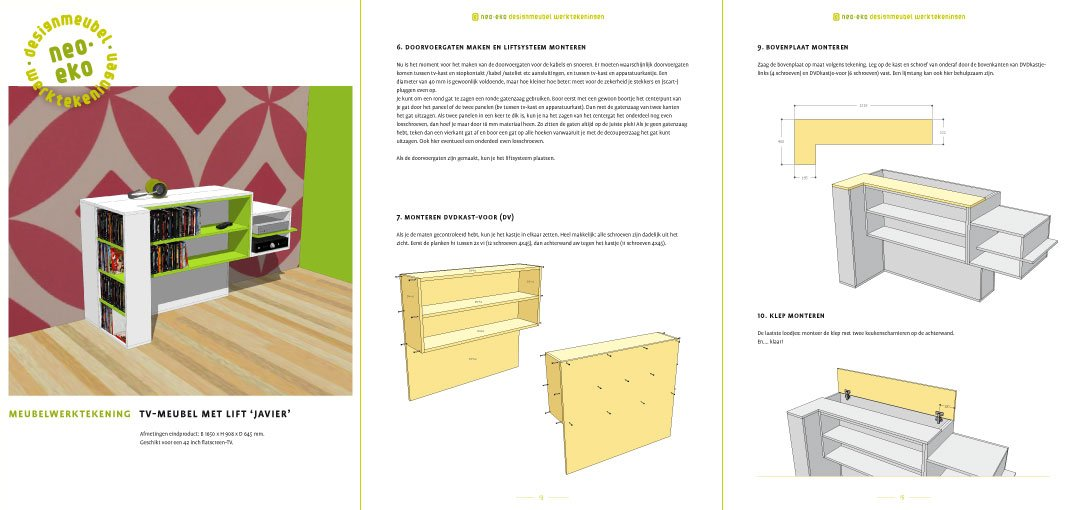 DIY TV stand with lift 'Javier': drawings 3-pages