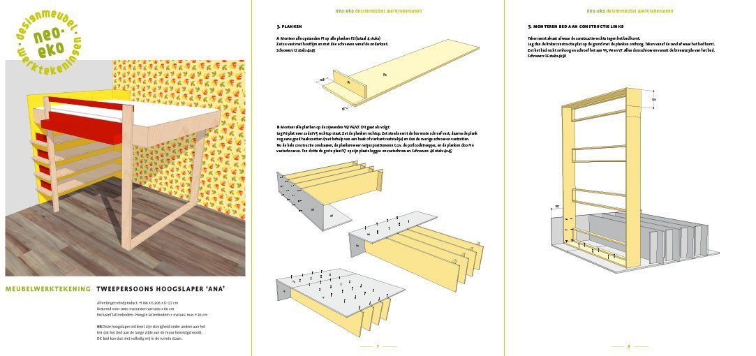 preview-DIY Loft bed AnaXL drawins / plans 3-pages
