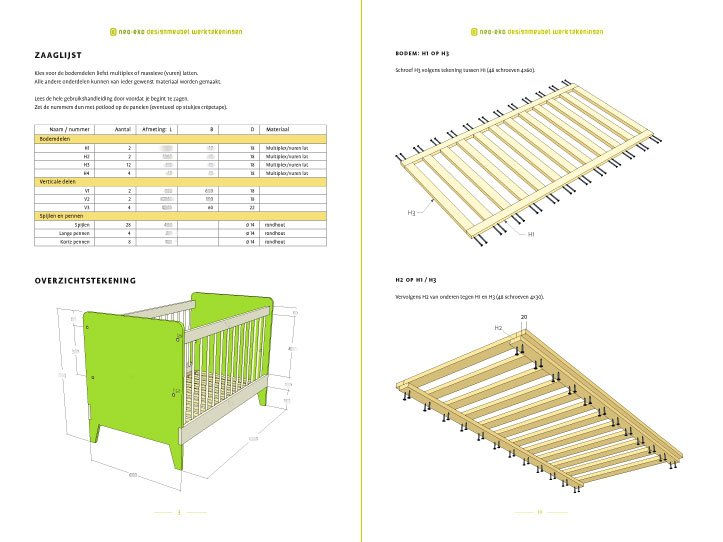 Preview-Drawing DIY plans cot   bedstead 'Nicole' 2pages