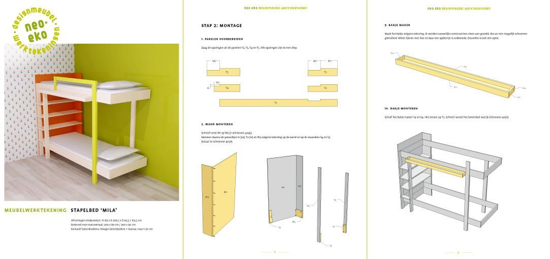 Preview drawing DIY plans bunk bed 'Mila' 3-pages