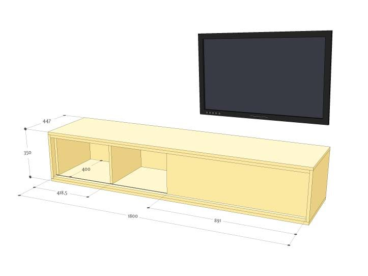 DIY floating TV stand 'Arturo' drawings