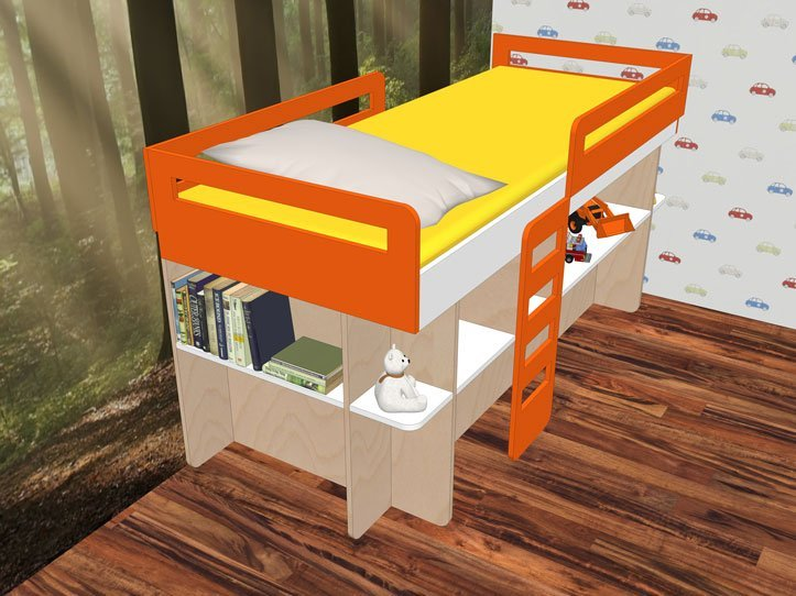 Drawing DIY plans medium loft bed 'Demi'