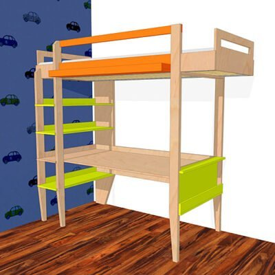 Drawing DIY plans loft bed 'Wolf'