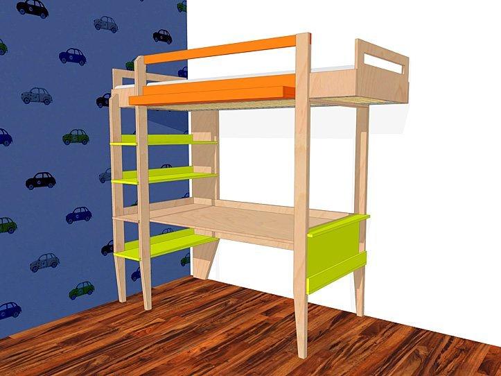 Diy Design Loft Bed With Desk Wolf, Loft Bed With Desk Plans