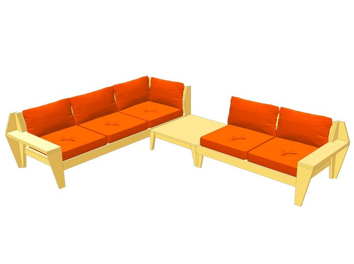 Drawing DIY garden corner sofa 'YelmoXL'