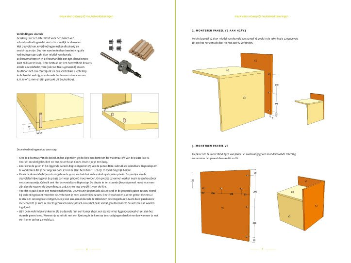 Preview-Photo DIY side table | night stand 'Pilar'preview-tekening-picknicktafel-urbion 2-pages
