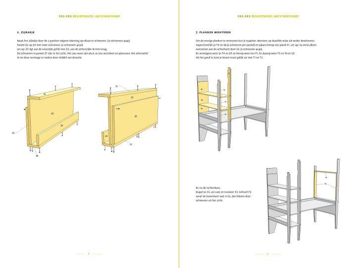 Wonderlijk DIY design loft bed with desk 'Wolf' furniture plan AQ-98