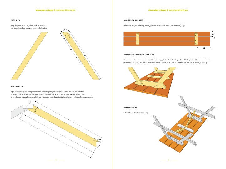 Preview-Image Free furniture plan picnic table nevadapreview-tekening-picknicktafel-urbion 2-pages