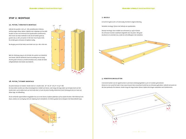 Preview DIY modern table 'Cuco' drawings   plan 2-pages
