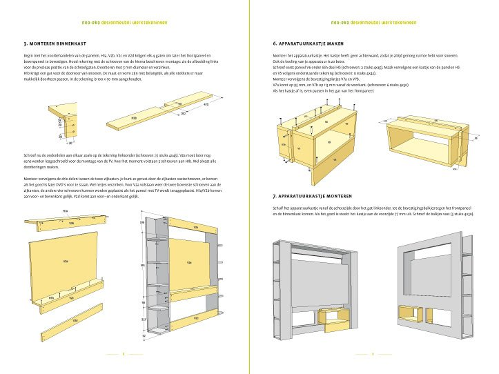 Drawing Furniture Plan DIY TV Stand 'Antonio' 2-pages