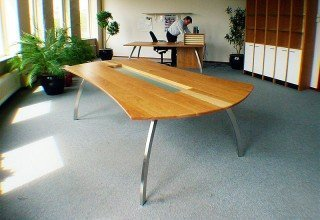 Photo office conference table cherry solid wood