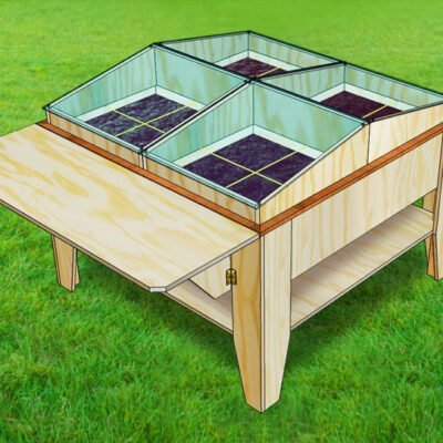 Drawing DIY kitchen garden table Huerta