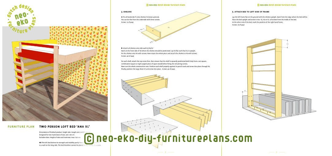 Double Loft Bed Diy Furniture Plan Preview Ana XL