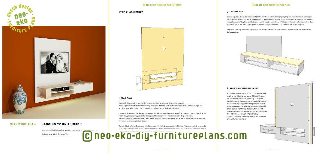 hanging tv unit furniture plan preview Jordi