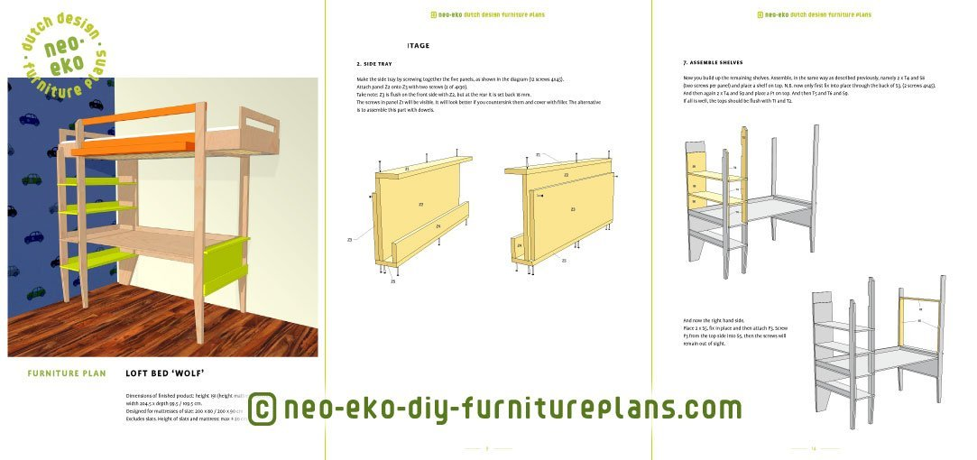 loft bed with desk furniture plan preview Wolf