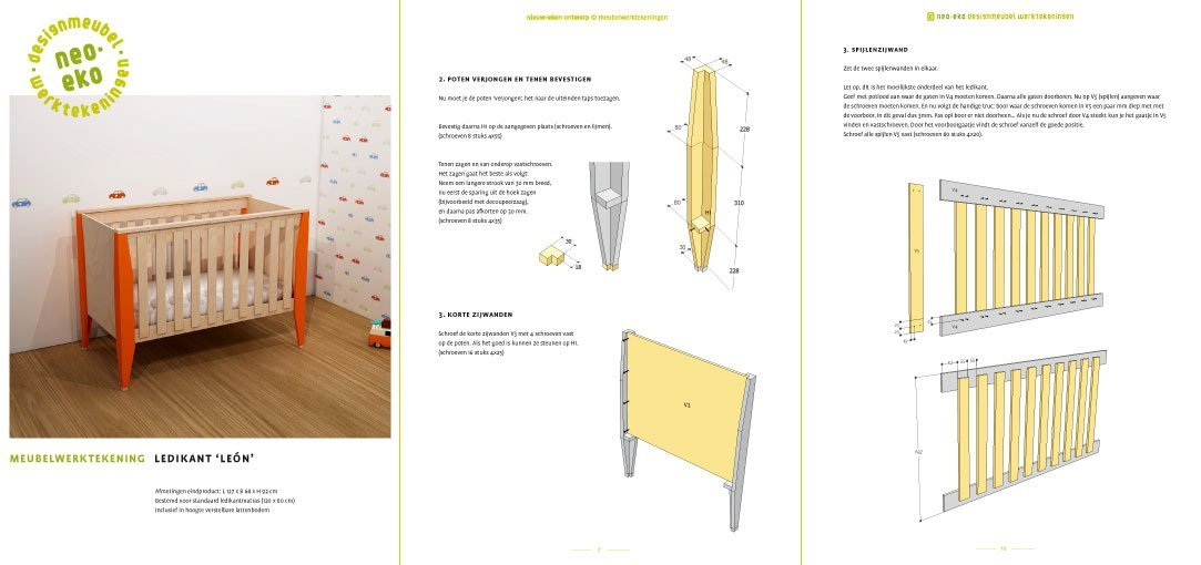 Preview Drawing DIY plans cot | bedstead 'Leon' 3-pages