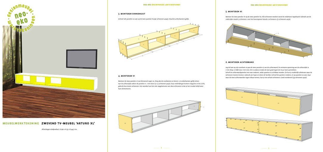 Preview drawing DIY TV cabinet 'ArturoXL' 3-pages