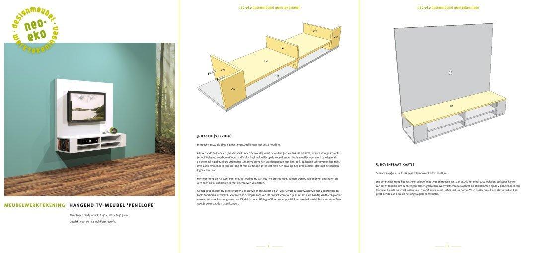 Furniture Plan DIY floating TV cabinet 'Penelope' 3-pages