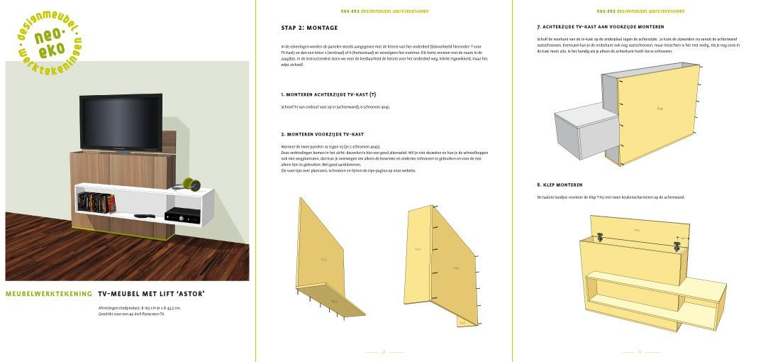 DIY TV stand with lift 'Astor': drawings 3-pages