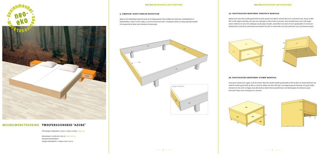 Preview Drawing DIY plan double bed 'Azobe' 3-pages