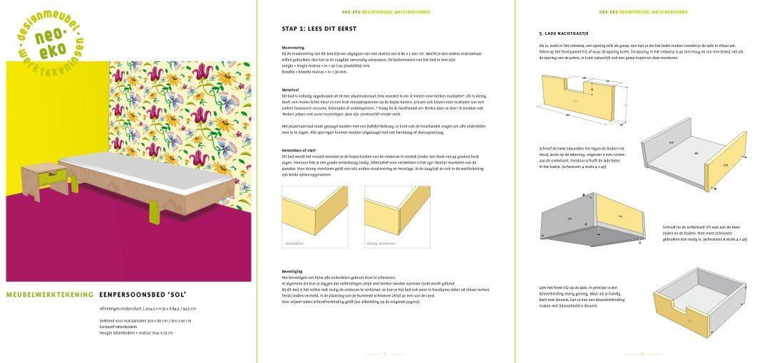 Preview drawing DIY single bed 'Sol' 3-pages