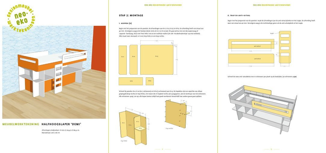 Preview drawing DIY half high loft bed 'Demi' 3-pages