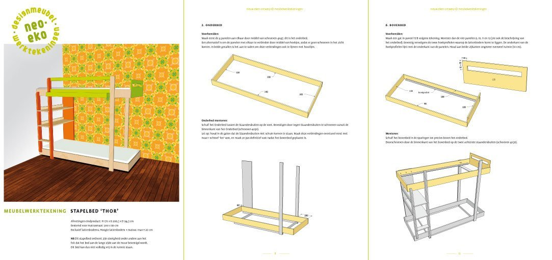 Preview drawing DIY plans bunk bed 'Thor' 3-pages