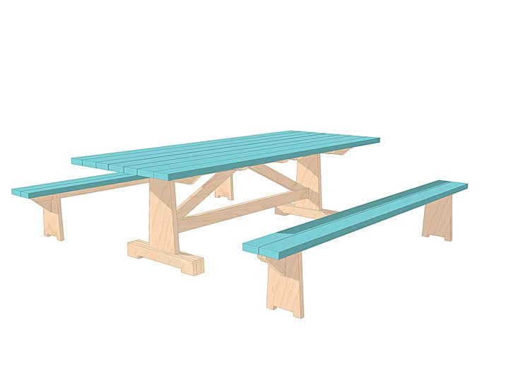 DIY garden table with benches 'Cadi' drawings | plan