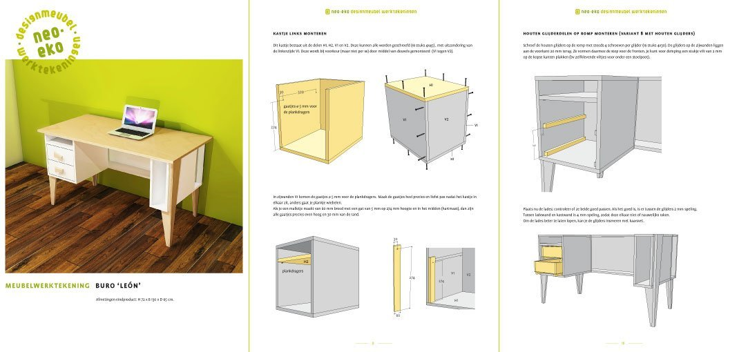 Preview Drawing DIY plan desk | workbench 'Leon' 3-pages