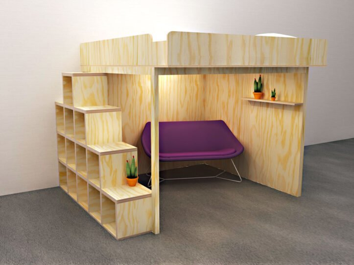 DIY: Ideal for a small home: this double bunk bed creates extra living space and storage space.